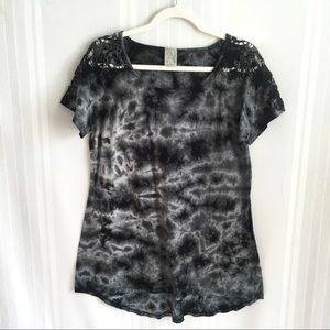 American Age Tie Dye Short Sleeve Top Large Cotton